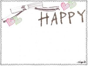 フリー素材:フレーム;大人可愛いレースの囲み枠と水彩色鉛筆のハートとHAPPYの手書き文字と飾り枠(フレーム)
