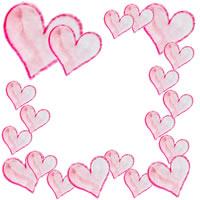 バナー、アイコンのフリー素材:フレーム(飾り枠);大人かわいい水彩色鉛筆のハートいっぱいのイラスト