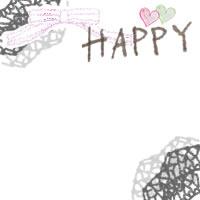 フリー素材:バナー,アイコンのフレーム;ガーリーなレースの飾り枠とハートと手書き文字「HAPPY」とリボンのイラストの飾り枠(200×200pix)