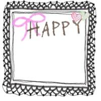 アイコン(twitter,mixi,ブログ)のwebデザイン素材:大人可愛い黒のレースとピンクのりぼんとHAPPYの手書き文字とハートのイラスト