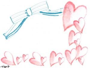 フリー素材:フレーム;大人可愛い水色のシマシマのリボンと水彩のピンクのハートいっぱいのイラストの飾り枠