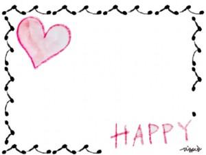 フリー素材:フレーム;大人可愛いモノクロのフレームと水彩のピンクのハートとHAPPYの手書き文字のイラストの飾り枠