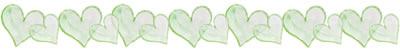 フリー素材:飾り罫;水彩の緑のハートいっぱいのイラスト