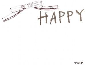 フリー素材:フレーム;大人かわいい茶色のりぼんとHAPPYの手書き文字のイラストの飾り枠