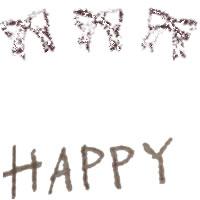 アイコン(twitter,mixi,ブログ)制作のフリー素材:大人可愛いブラウンのリボンとHAPPYの手書き文字の無料イラスト