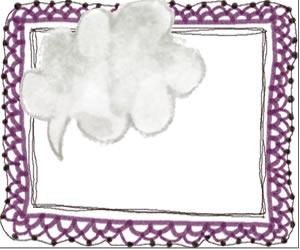 バナー、アイコンのフリー素材:大人かわいいモノクロの吹出しと紫のレースのイラストのフレーム(飾り枠);300×250pix