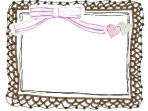 秋色のフリー素材:フレーム;大人かわいい茶色のレースとピンクのリボンとハートの飾り枠