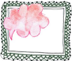 背景,フレームのフリー素材:大人可愛いくすんだ緑色の苺レースの囲み枠とピンクの水彩色鉛筆のふきだしの無料イラスト