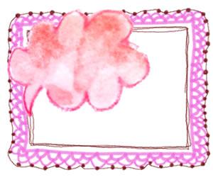 フリー素材:フレーム;ガールな水彩のピンクの吹出しとレースの飾り罫のイラスト