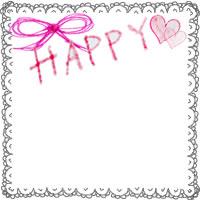 フリー素材:フレーム;大人可愛いレースのフレームとりぼんと水彩のピンクのハートとHAPPYの手書き文字のイラストの飾り枠