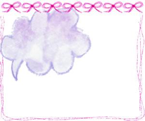 フリー素材:バナー,アイコンのフレーム:ガーリーなピンクのりぼんとラフなラインと水彩の紫の吹出し;300×250pix