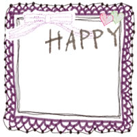 フリー素材:秋のアイコン(twitter,mixi,ブログ);大人カワイイ紫のリボンとレースの飾り枠とグレーのHAPPYの手書き文字と小さなハート;200×200pix