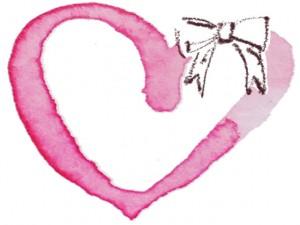 フリー素材:秋のフレーム;ガーリーな水彩のピンクのハートと茶色のリボンの無料イラスト