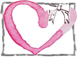 フリー素材:秋のフレーム;ガーリーな水彩のピンクのハートと茶色のリボンとグレーの鉛筆の飾り枠の無料イラスト