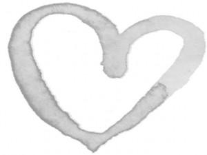 フリー素材:フレーム;ガーリーなモノクロ(淡いグレー)の水彩のハートのイラストいっぱいの囲み枠;640×480pix