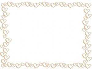 フリー素材:フレーム;ガーリーな水彩の淡いブラウンのハートのイラストいっぱいの囲み枠;640×480pix