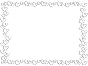 フリー素材:フレーム;シンプルな水彩のモノクロ(グレー)のハートのイラストいっぱいの囲み枠;640×480pix