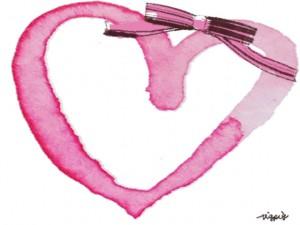 フリー素材:秋のフレーム;大人可愛いピンクの水彩のハートとブラウンブラックのリボンのイラストの飾り枠;640×480pix