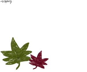 フリー素材:秋のアイコン,バナー;大人かわいいくすんだ緑と赤のもみじのシンプルなイラスト;300×250pix