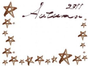 フリー素材:秋のフレーム;ガーリーな水彩の茶色のハートとAutumn2011の手書き文字の無料イラスト
