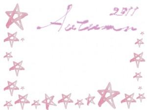 フリー素材:レースのフレーム;ガーリーなパステルピンクの水彩の星とAutumn2011の手書き文字;640×480pix