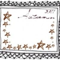 フリー素材:レースのフレーム;モノクロの大人かわいいレースの飾り枠と水彩の茶色の星とAutumn2011の手書き文字;640×480pix