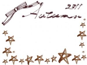 フリー素材:秋のフレーム;ガーリーな茶色りぼんとAutumn2011の手書き文字と星いっぱいの飾り枠