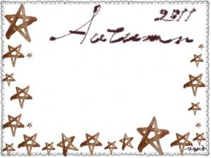 フリー素材:フレーム;大人可愛いグレーレースとAutumn2011の手書き文字と星いっぱいの飾り枠;640×480pix