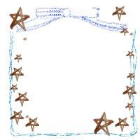 フリー素材:アイコン(twitter,mixi);大人可愛いブルーのりぼんとラフなラインと茶色の水彩の星いっぱいのイラストのフレーム ;200×200pix