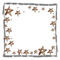 アイコン(twitter,mixi,ブログ)のフリー素材:シンプルな鉛筆の線の飾り枠と大人可愛いブラウンブラックの水彩の星いっぱいのガーリーなイラスト;200×200pix