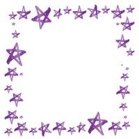 アイコン(twitter,mixi,ブログ)のフリー素材:シンプルで大人可愛い紫色の水彩の星いっぱいのガーリーなフレーム;200×200pix