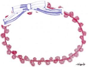 フリー素材:フレーム;ガーリーな赤いポンポンレースみたいな色鉛筆の飾り枠とブルーのストライプのリボン;640×480pix