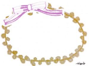 フレーム素材:ガーリーな芥子色のポンポンの縁飾りみたいな飾り枠とピンクのリボン;640×480pix