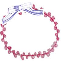 フリー素材:アイコン(twitter,mixi,ブログ);大人可愛いブルーのリボンと赤いポンポンレースの縁飾りみたいな飾り枠;200×200pix