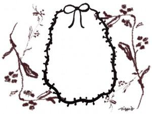 フリー素材:フレーム;大人可愛い北欧風の木枝とブラウンブラックのリボンの楕円の囲み枠;640×480pix