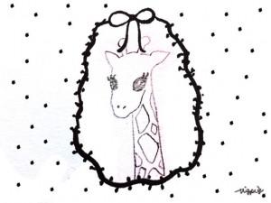フリー素材:ガーリーな鉛筆の手描きのキリンのイラストとモノクロの水玉とりぼんの囲み枠;640×480pix