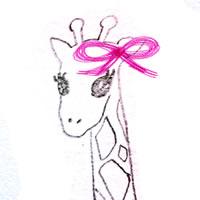 フリー素材:アイコン(twitter,mixi,ブログ);シンプルでガーリーなグピンクのリボンとキリンの鉛筆イラスト;200×200pix