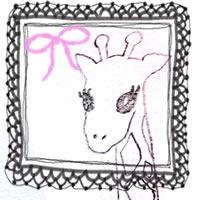 フリー素材:アイコン(twitter,mixi,ブログ);ガーリーなモノクロのレースの飾り枠とピンクのりぼんとキリンの鉛筆イラスト;200×200pix