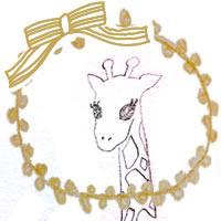 フリー素材:アイコン(twitter,mixi,ブログ);ガーリーな芥子色のレースの飾り枠とピンクのりぼんとキリンの鉛筆イラスト;200×200pix