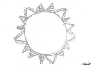 フリー素材:ガーリーなモノクロの旗いっぱいの太陽みたいな鉛筆の手描きイラストの囲み枠;640×480pix