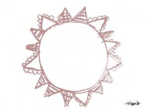 フリー素材:ガーリーなくすんだピンクの旗いっぱいの太陽みたいな鉛筆の手描きイラストの囲み枠;640×480pix