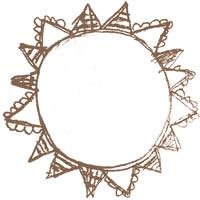 フリー素材:アイコン(twitter,mixi,ブログ);大人可愛いパステルブラウンの旗いっぱいの太陽のメダルみたいな鉛筆イラスト;200×200pix