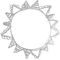 フリー素材:アイコン(twitter,mixi,ブログ);大人可愛いモノトーングレーの旗いっぱいの太陽のメダルみたいな鉛筆イラスト;200×200pix