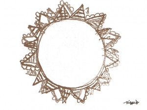 フリー素材:フレーム;大人可愛いブラウンの旗いっぱいの太陽のメダルみたいな鉛筆イラスト;640×480pix