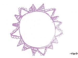 フリー素材:フレーム(twitter,mixi,ブログ);大人可愛いパステルカラーの紫色の旗いっぱいの太陽のメダルみたいな鉛筆イラスト;640×480pix