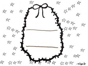 フリー素材:ガーリーなモノトーンのリボンとポンポン付きの楕円の飾り枠とラフなライン;640×480pix