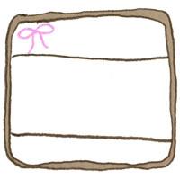 フリー素材:アイコン(twitter,mixi,ブログ);ピンクの小さなリボンがガーリーな茶色のラベルシール風フレーム;200×200pix