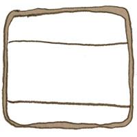 フリー素材:アイコン(twitter,mixi,ブログ);シンプルな茶色の鉛筆イラストのラベルシール風フレーム;200×200pix