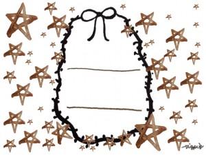 フリー素材:ガーリーなモノクロのリボンの飾り枠と水彩の星いっぱいのラベルシールみたいなイラスト;640×480pix