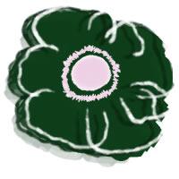 フリー素材:アイコン(twitter,mixi,ブログ),壁紙;北欧風の深緑のシンプルな花(アネモネ)のイラスト;200×200pix